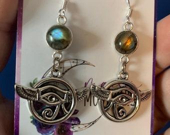 Egyptian Eye labradorite earrings, Eye of Horus Jewelry, Eye of Ra Talisman, Ancient Egypt Jewelry, Gothic Eye of Egypt earrings, gothic