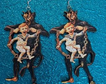 Krampusnacht Statement Earrings, Alternative Xmas jewelry, alpine krampus holiday jewelry, goth Xmas horror earrings, German xmas Krampus