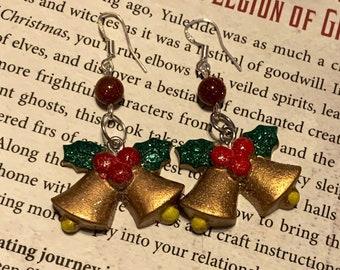 Yuletide Bells & Holly Goldstone Earrings, xmas holly earrings, holiday evergreen jewelry gift, vibrant bell jewelry Christmas, Yule earring