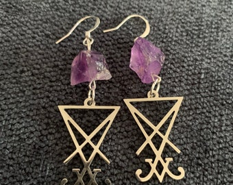 Lucifer Sigil Amethyst Accented Earrings, morning star Sigil earrings, Lucifer symbol jewelry gift, silver statement Lucifer earrings, goth