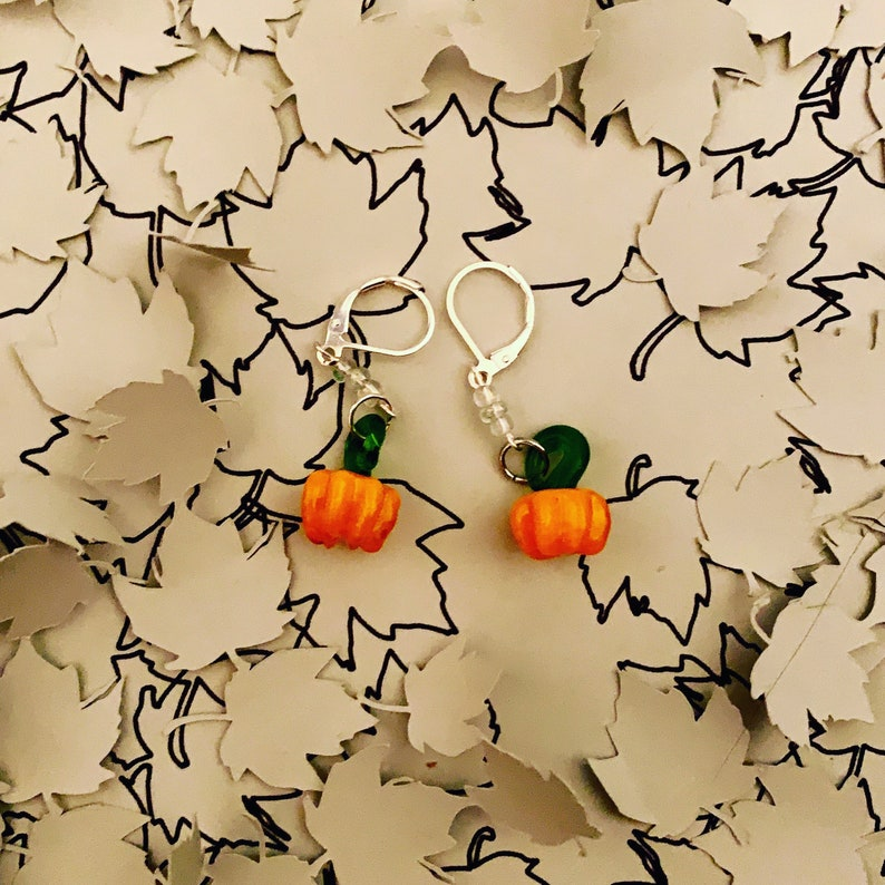 Glass Fused Opalite Pumpkin Earrings image 0