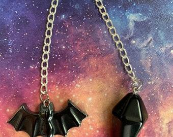 Hematite Bat Pendulum, Divination Tool for Scrying, fortune telling, crystal bat divination, black onyx scrying tool, Samhain pendulum gift