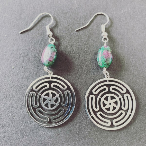 Wheel of Hecate Fuschite Earrings image 2