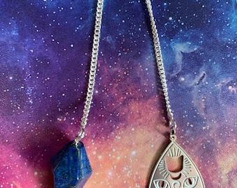 Lapis Lazuli Planchette Pendulum, Spirit Board Planchette Scrying Tool, Stainless Steel Occult Cat Pendulum, Occult Crystal Divination Gift