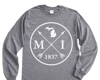 Homeland Tees Michigan Arrow Long Sleeve Shirt