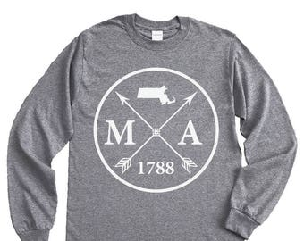 Homeland Tees Massachusetts Arrow Long Sleeve Shirt