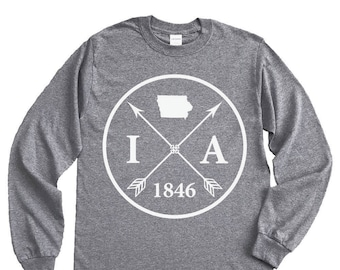 Homeland Tees Iowa Arrow Long Sleeve Shirt