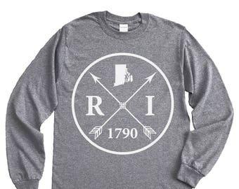 Homeland Tees Rhode Island Arrow Long Sleeve Shirt