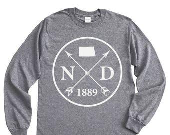 Homeland Tees North Dakota Arrow Long Sleeve Shirt