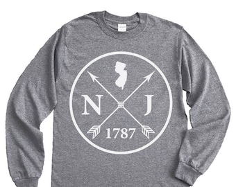 Homeland Tees New Jersey Arrow Long Sleeve Shirt