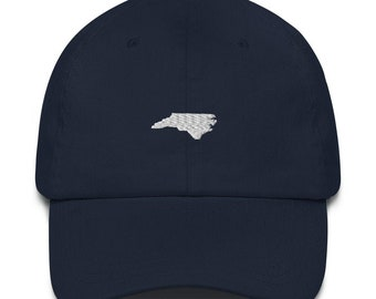 Homeland Tees Embroidered Dad Hat North Carolina State Outline - White Logo