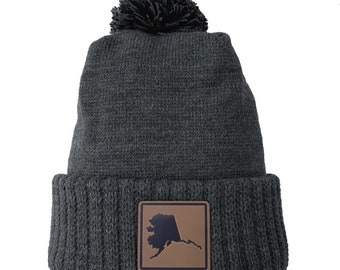 Homeland Tees Alaska Leather Patch Cuff Beanie