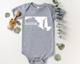 Homeland Tees Maryland Home Bodysuit Coming Home Outfit Shower Gift Newborn Baby Boy Girl