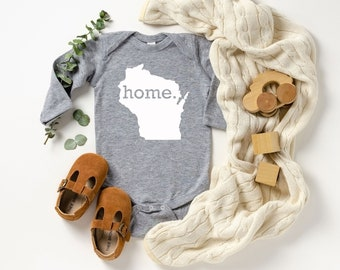Homeland Tees Wisconsin Home Unisex Long Sleeve Baby Bodysuit