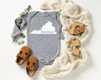 Homeland Tees Virginia Home Unisex Long Sleeve Baby Bodysuit