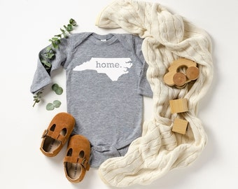 Homeland Tees North Carolina Home Unisex Long Sleeve Baby Bodysuit
