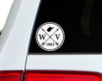 West Virginia Arrow Year Car Window Decal Sticker