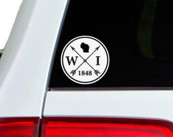 Wisconsin Arrow Year Car Window Decal Sticker