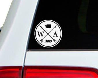 Washington Arrow Year Car Window Decal Sticker