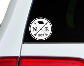 Nebraska Arrow Year Car Window Decal Sticker