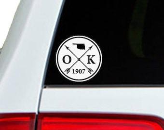 Oklahoma Arrow Year Car Window Decal Sticker