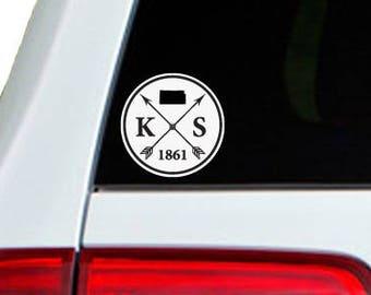Kansas Arrow Year Car Window Decal Sticker