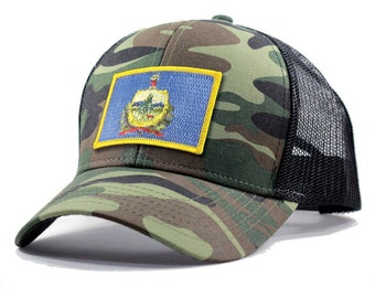 Homeland Tees Vermont Flag Hat - Army Camo Trucker