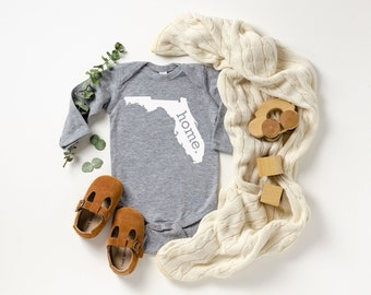 Homeland Tees Florida Home Unisex Long Sleeve Baby Bodysuit