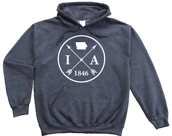 Homeland Tees Iowa Arrow Pullover Hoodie Sweatshirt