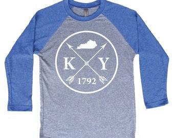 Homeland Tees Kentucky Arrow Tri-Blend Raglan Baseball Shirt