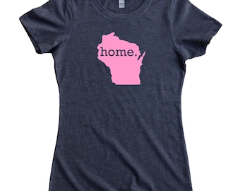 Wisconsin Home State T-Shirt Women's Tee PINK EDITION - Sizes S-XXL