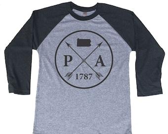 Homeland Tees Pennsylvania Arrow Tri-Blend Raglan Baseball Shirt