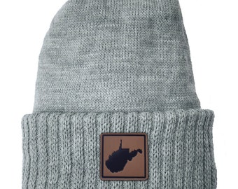 Homeland Tees West Virginia Leather Patch Cuff Beanie