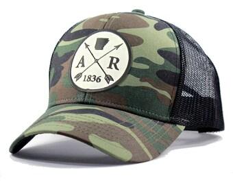 Homeland Tees Arkansas Arrow Hat - Army Camo Trucker