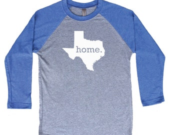 Homeland Tees Texas Home Tri-Blend Raglan Baseball Shirt