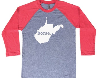 Homeland Tees West Virginia Home Tri-Blend Raglan Baseball Shirt