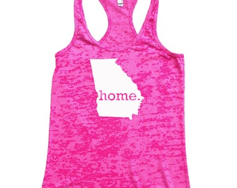 Homeland Tees Georgia Home Burnout Racerback Tank Top - Women's Workout Tank Top