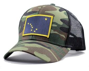 Homeland Tees Alaska Flag Hat - Army Camo Trucker