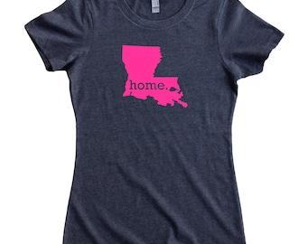 Louisiana Home State T-Shirt Women's Tee PINK EDITION - Sizes S-XXL
