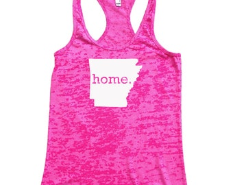 Homeland Tees Arkansas Home Burnout Racerback Tank Top - Women's Workout Tank Top
