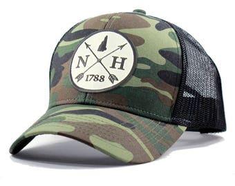 Homeland Tees New Hampshire Arrow Hat - Army Camo Trucker