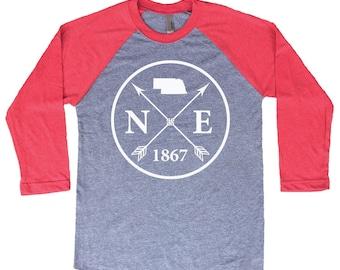 Homeland Tees Nebraska Arrow Tri-Blend Raglan Baseball Shirt