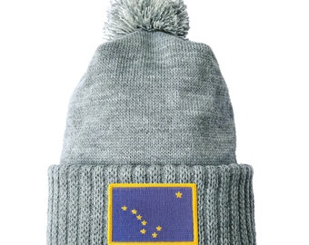 727e1141be6 Homeland Tees Alaska Flag Patch Cuff Beanie