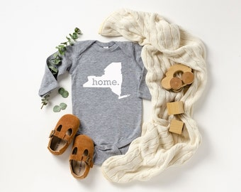 Homeland Tees New York Home Unisex Long Sleeve Baby Bodysuit
