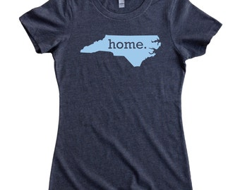 North Carolina Home State T-Shirt Women's CAROLINA BLUE Logo Sizes S-XXL