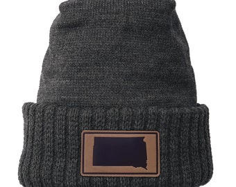 Homeland Tees South Dakota Leather Patch Cuff Beanie