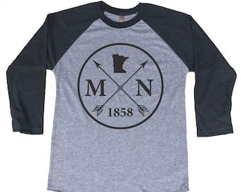 Homeland Tees Minnesota Arrow Tri-Blend Raglan Baseball Shirt