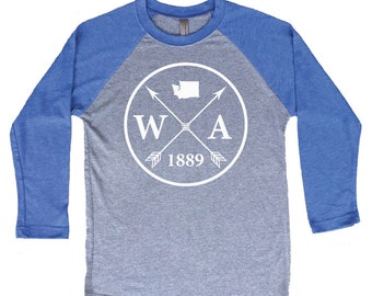 Homeland Tees Washington Arrow Tri-Blend Raglan Baseball Shirt
