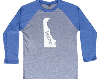 Homeland Tees Delaware Home Tri-Blend Raglan Baseball Shirt