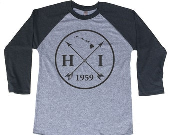Homeland Tees Hawaii Arrow Tri-Blend Raglan Baseball Shirt